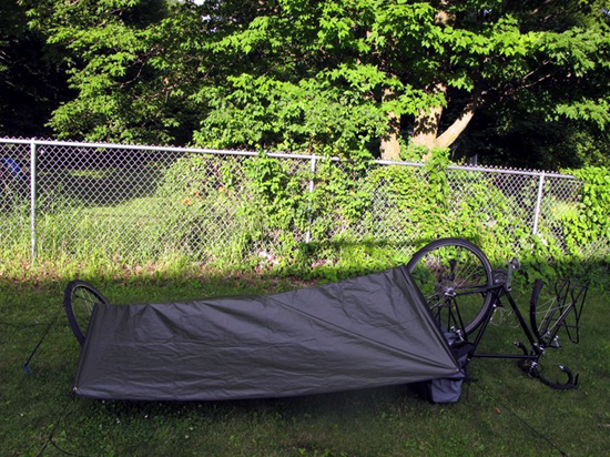 New England bicycle tour hammock and tarp shelter