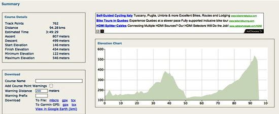 screenshot of New England cycling tour computer tracking